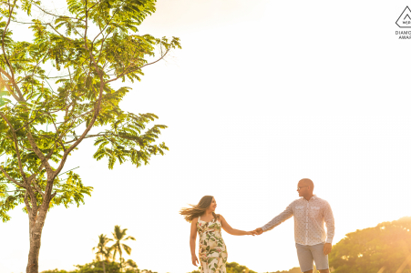 Ipioca, Alagoas wedding couple in nature and at sunset during an engagement photo shoot