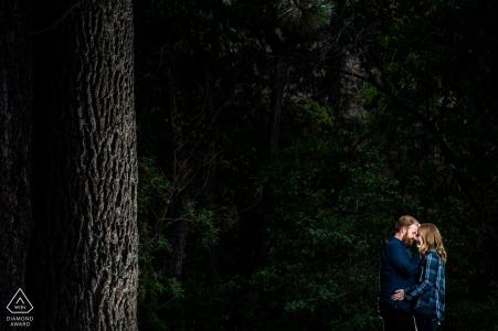 Reno, NV Couple se blottissant pendant une séance photo avant le mariage avec des bois sombres derrière eux