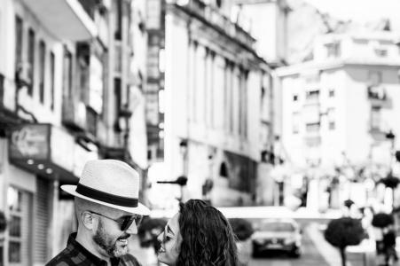 Jaén black and white Pre-Wedding street photo session
