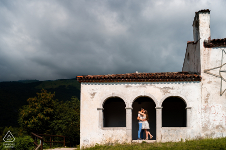Aviano, Italy engagement photo session On the top of the hill