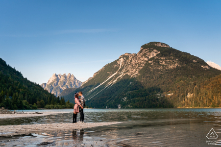 Lago del Predil, Udine, Italy engagement pre-wed session In the mountains