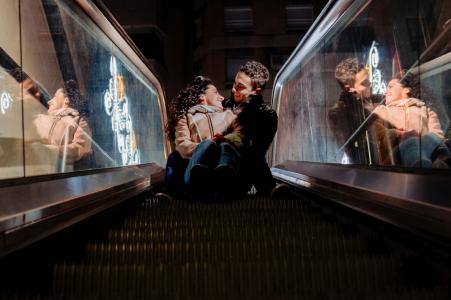 Jaén, Spain Pre-Wedding portrait shoot with escalator glass reflections