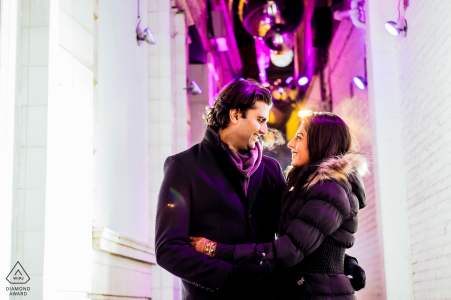 Carnaby Street, London couple during Christmas in Carnaby Street for their pre-wed portrait photography