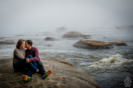 A Richmond Foggy Morning Engagement Session by the rocks and water