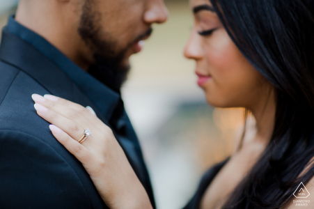 Downtown Houston mini couple photo session before the wedding day - detail of the engagement ring