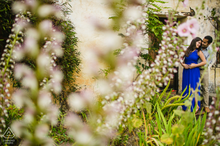 The Mission, Santa Cruz, California mini photo session before the wedding day - couple in a garden
