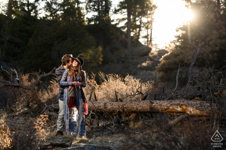 Estes Park outside forest picture session before the wedding day in the woods during the Golden hour
