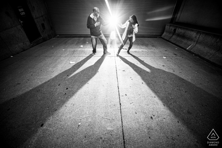 Downtown St Paul pre wedding urban BW shoot as the Couple does karate