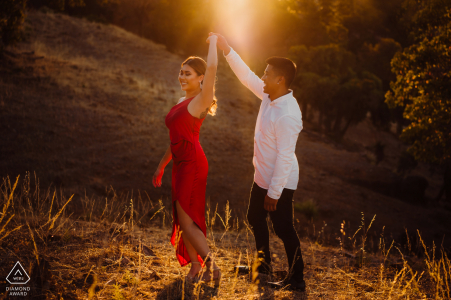 Perth pre wedding dancing couple portrait during sunset