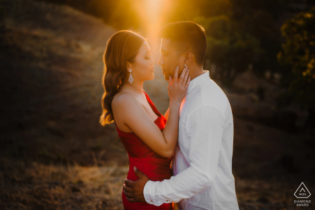 Perth sunset couple portrait embracing each other tenderly