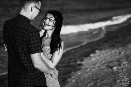 Norfolk, UK shoreline couple shoot in black and white