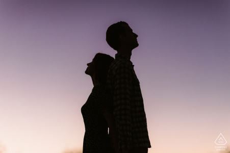 Pasadena silhouette evening couple portrait during sunset magic