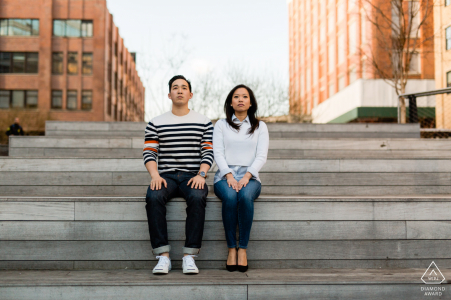 The High Line Park urban couple portrait on city stairway