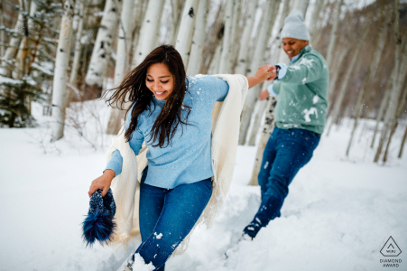 Vail playful winter pre wed photo shoot