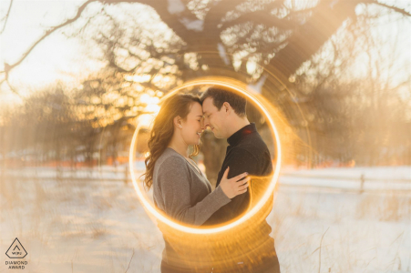 Horner Park ring of fire couple portrait  in Chicago, IL