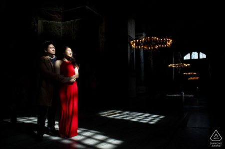 Sultanahmet, Istanbul indoor photo session with the couple before the wedding day in some harsh window light hitting the floor