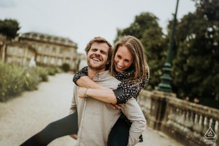 Bordeaux engagement picture session of a playful couple
