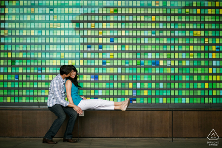 California engaged couple picture session at Stanford University at the Business building