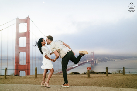 Battery Spencer, CA engaged couple picture session at the Golden Gate Bridge