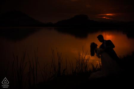 Guangdong Foshan séance photo de couple fiancé avec un plongeon dansant romantique au coucher du soleil