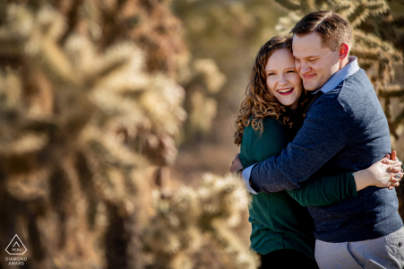 AZ pre-wed portrait at Superstition Mountains with a couple and cactus