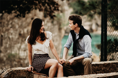 La Calella de Palafrugell engaged couple picture session in the garden of Cap Roig
