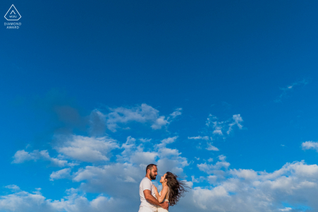 Maceio couple engagement pic session under a big blue sky with some big love