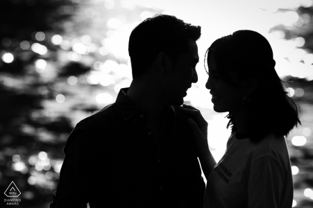 Bangkok Fine Art Engagement Session with some BW Romance by the river