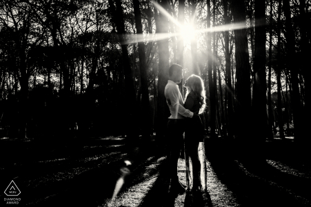 Stellenbosch Forest Fine Art Engagement silhouette image taken in the forest makes for a moody engagement photo