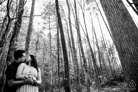 Pigeon Forge Fine Art Pre Wedding Portrait in black and white  of the couple kissing in the smoky mountains