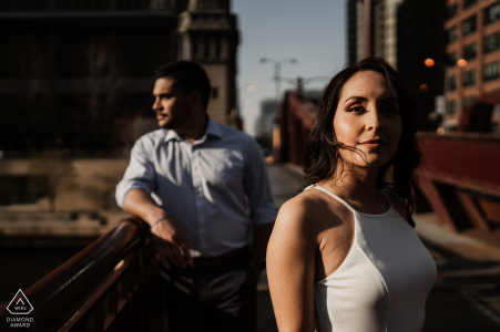 Chicago Fine Art Pre Wedding Portrait on bridge over Chicago river