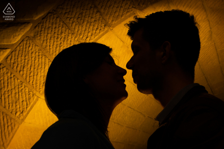 Luxembourg Pre Wedding Photoshoot in a Fine Art Style while kissing under the bridge