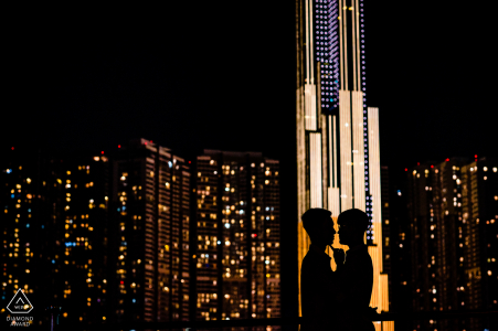 Ho Chi Minh Artful Engagement Picture showing how In the middle of the crowded city they found each other