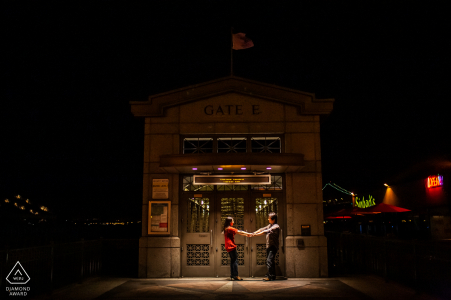 San Francisco Fine Art Engagement Image with some Romancing through the piers of SF at night