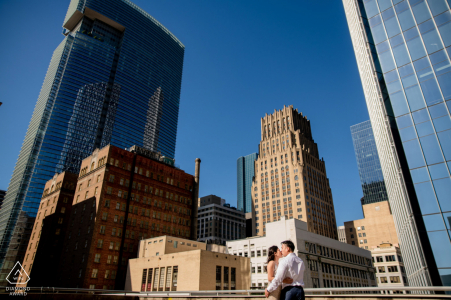 Downtown Houston on-location portrait e-shoot amongst the tall buildings