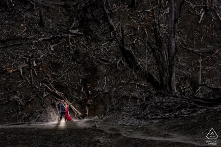 Hacienda La Central, Cartago, CR e-session d'engagement environnemental d'un couple debout devant une forêt brûlée dans la jupe du volcan Turrialba