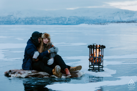 Abisko, Sweden on-location winter portrait e-shoot on a frozen lake