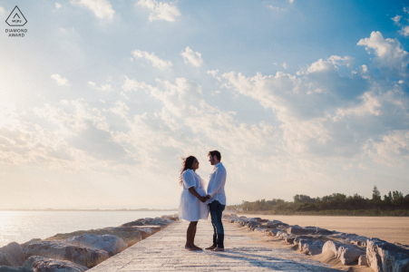 Punta Sabbioni, Cavallino-Treporti, Venice, Italy environmental engagement e-session with amazing light, plus the wind was lifting the sand