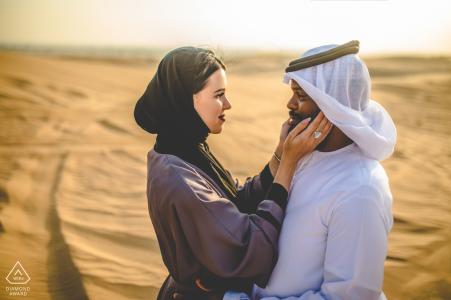 Dubai Desert environmental engagement e-session for prewedding portraits in the desert