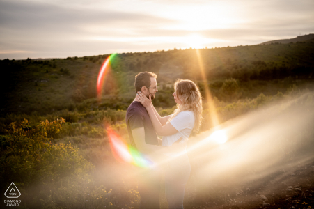 True Love Pre-Wedding Portrait Session in Marseille illustrating a couple in artistic image at sunset