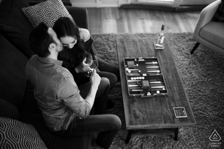 True Love Engagement Picture Session in Boston's Beacon Hill showing a future bride and groom in their home cuddling
