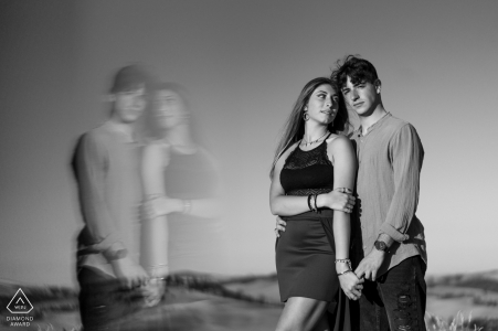 Siena couple engagement photo shoot in BW with soft reflections