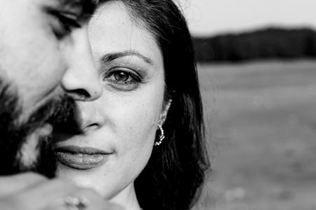 Monte Livata couple e-session during a BW close up portrait shoot of the couple