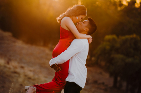 On location Perth couple engagement portrait shootwith some romantic Kissing at sunset
