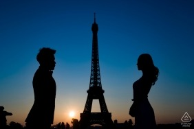 Eiffel Tower Engagement Photographer. Silhouettes