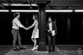 Winnipeg Engagement Photo session at the underground subway.