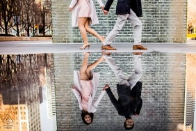 To and fro. Yin and Yang. Repeating and opposite patterns in this highly creative engagement shoot for a Chicago couple