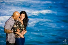 Lake Tahoe wedding engagement pictures at the ocean by CA photographer