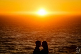 Sunset wedding engagement photo in Lake Tahoe by California engagement photographers