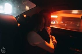 Bronx, New York  Wedding Engagement Photo in back of Taxi Cab | Wedding Engagement Photographers